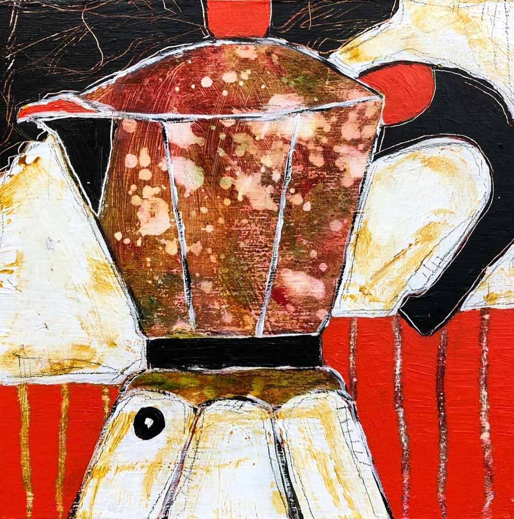 "Espresso For Sandy 8""x 8"" acrylic - SOLD"