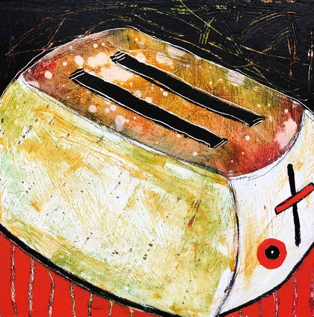 "It's Been A Slice 8""x 8"" acrylic"