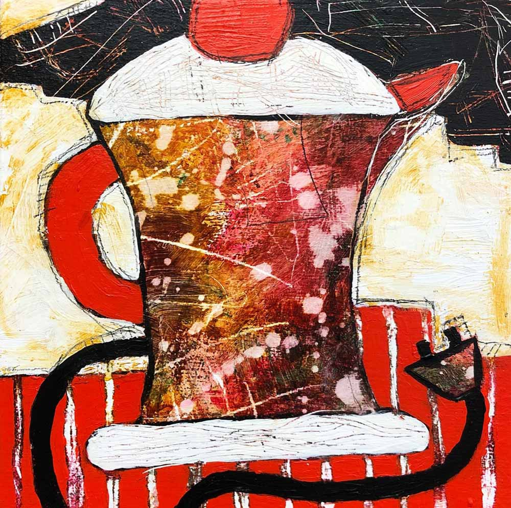 "Tea Time 8"" x 8 acrylic"