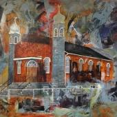 JohnsonNadine Built On Faith #1 40h x 60w Acrylic mixed media on canvas
