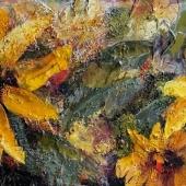 Nadine Johnson Sunny Place 24 x 12 Acrylic mixed media on birch panel